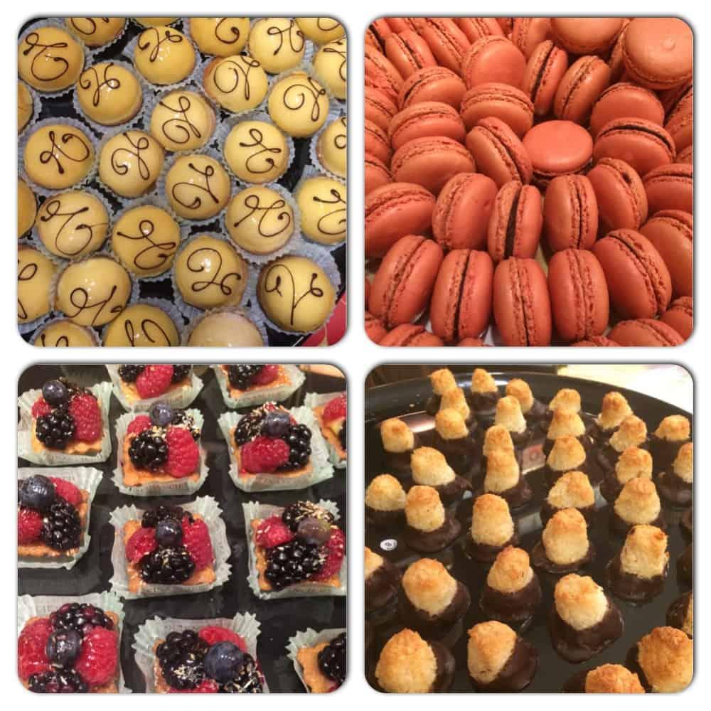 Clockwise from Top Left - Key Lime Tart, Raspberry Macaron, Coconut Rocher, Berry Tart