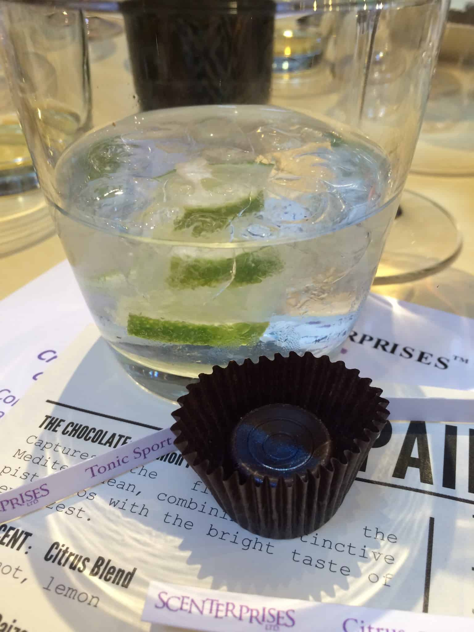 Chocolate: Juniper Scent: Tonic Sport Drink: Perry's Tot Gin & Tonic